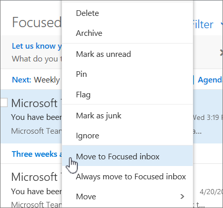 Screenshot of Inbox with Filter > Show Focused Inbox selected.