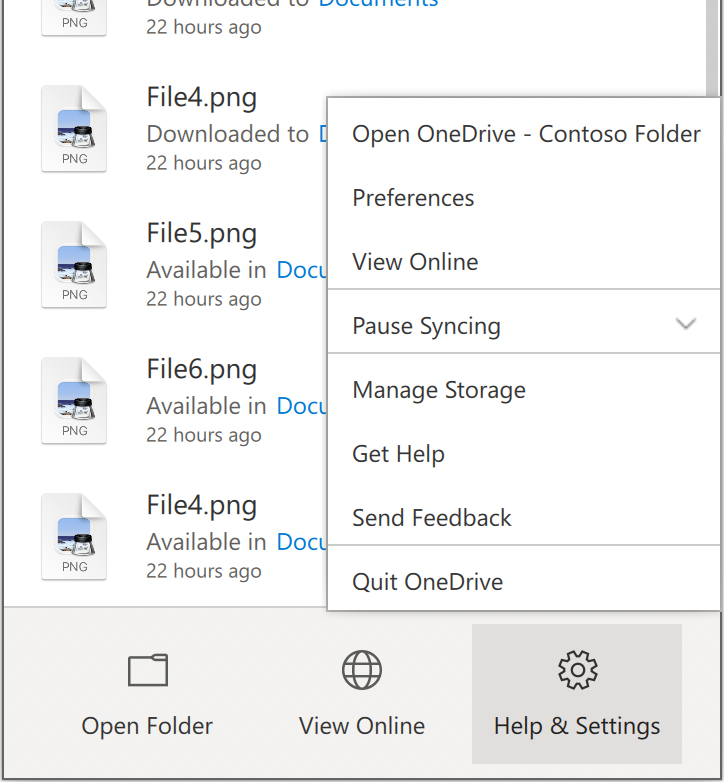 Shows the OneDrive Help & Settings menu, with Preferences near the top.