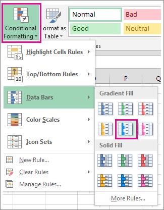 Conditional formatting gallery light blue data bars