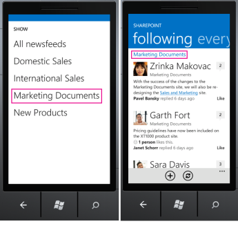 SharePoint Newsfeed App following screen