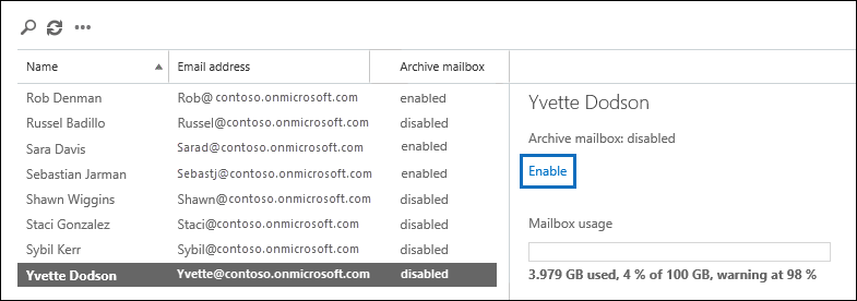 Click Enable in the details pane of the selected user to enable the archive mailbox