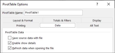 Pivot table options for not saving the pivot cache