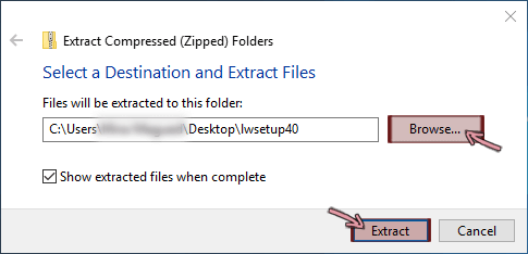 The Extract dialog box