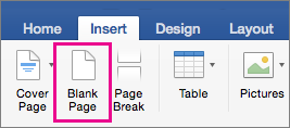On the Insert tab, Blank Page is highlighted