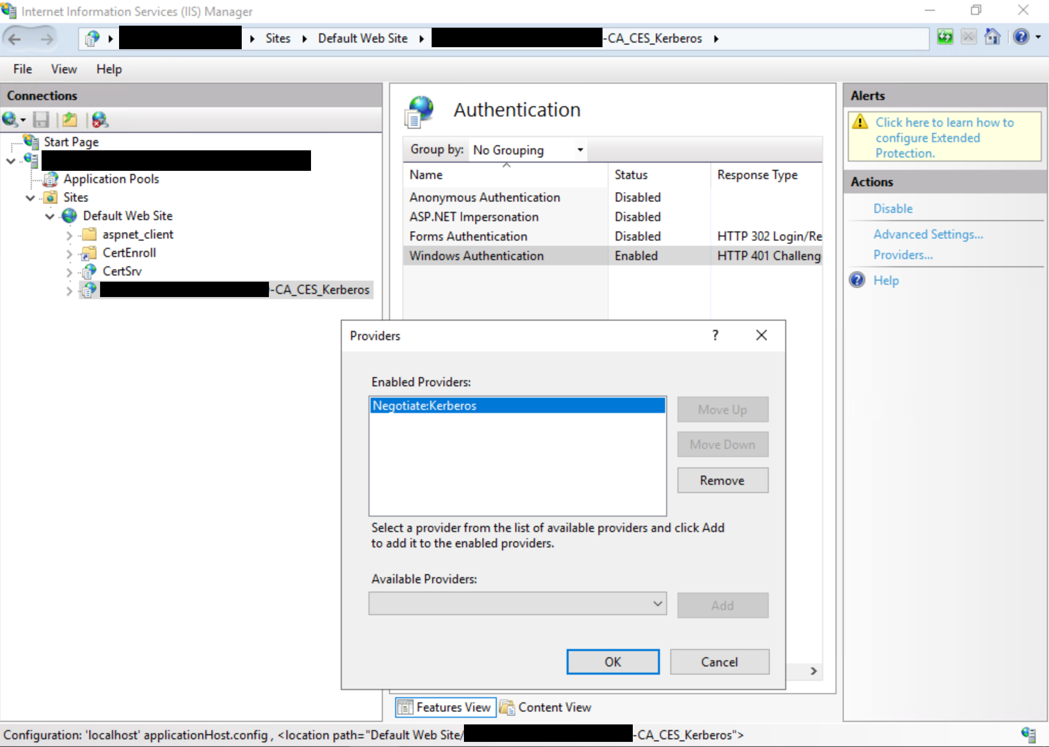 View of IIS Manager UI dialog
