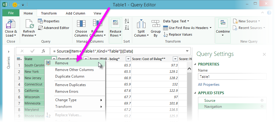 Query Editor context menu