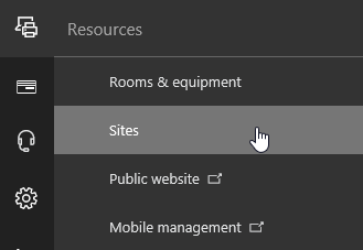 Resources menu in Office 365 admin center with Sites selected