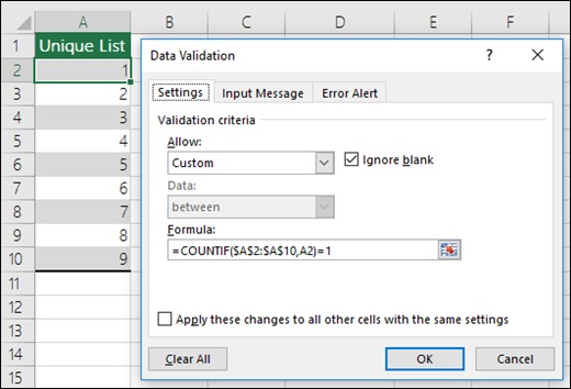 Excel data validation not validating