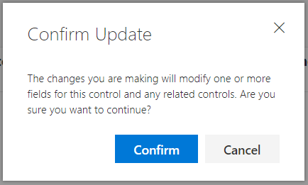 Compliance Manager Assessment - related controls update confirmation dialog box