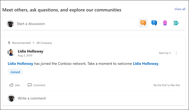 Image of the Yammer web part on the department site
