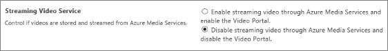 Disable Office 365 Video setting in SharePoint Online admin center
