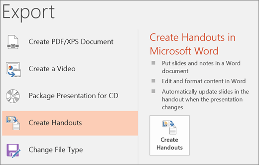 Screen clip of PowerPoint user interface showing File > Export > Create Handouts.