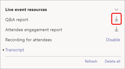 The report is available after the event