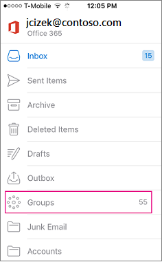Groups is a node on the folder list in Outlook mobile