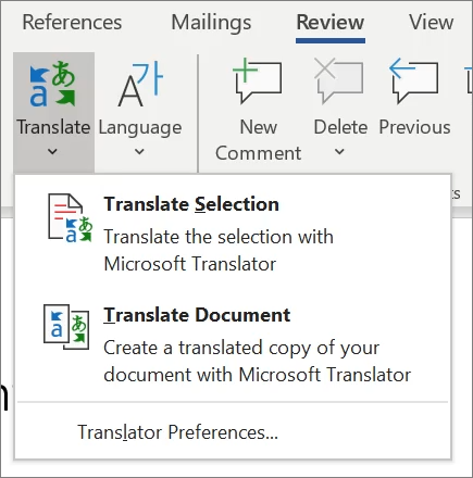 Translate in Word