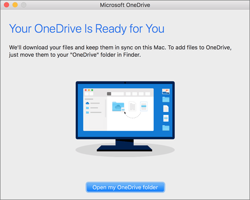 Screenshot of the last screen of the Welcome to OneDrive wizard on a Mac