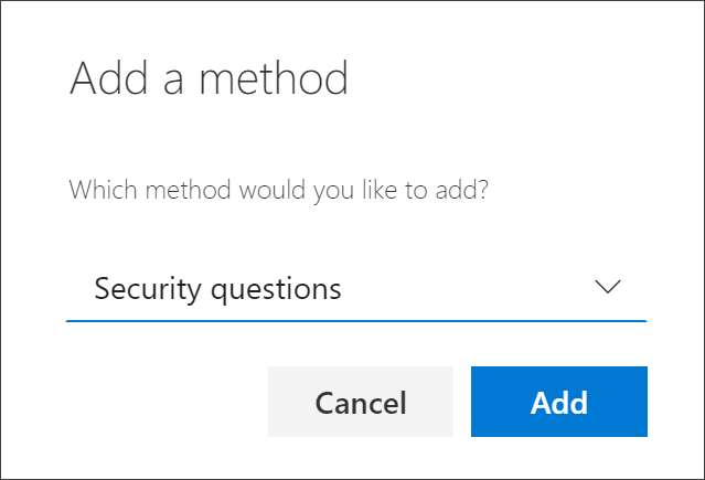 Add method box, with security questions selected