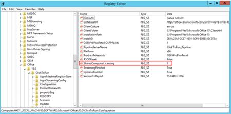 Shared computer licensing registry editor