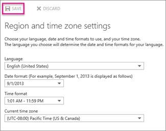 Region and time zone settings