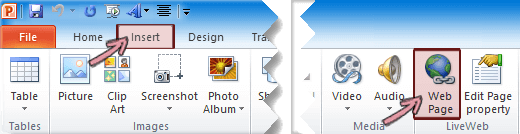 The LiveWeb add-in is found on the Insert tab of the Ribbon, at the far right end