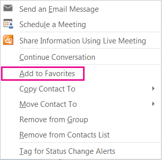 Screenshot dropdown list with Add to favorites highlighted