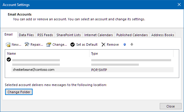 Outlook account settings dialog