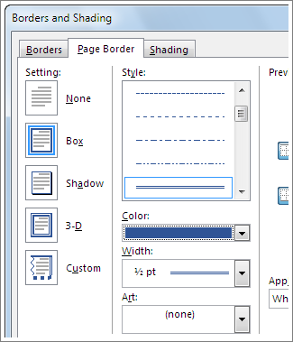 Setting options for page borders