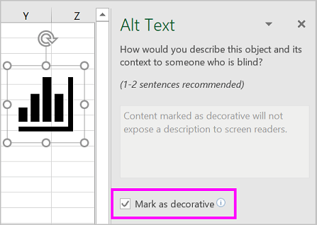 Mark as decorative check box selected in the Alt Text pane.