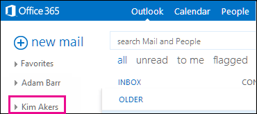 Shared folder displays in Outlook Web App
