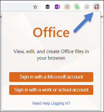 The sign in dialog for the Office for the web extension.