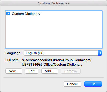 In the Custom Dictionaries dialog box, you can add, edit, and select custom dictionaries for use in checking spelling.