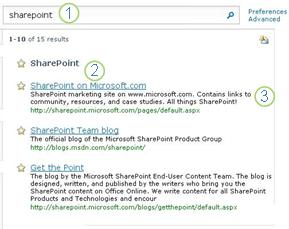 Three Best Bets for SharePoint Server appear at the top of the search results page