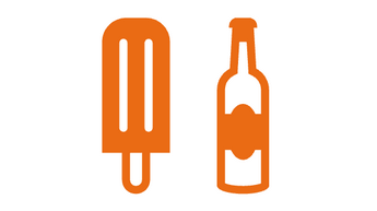 illustration of a popsicle and bottle of soda