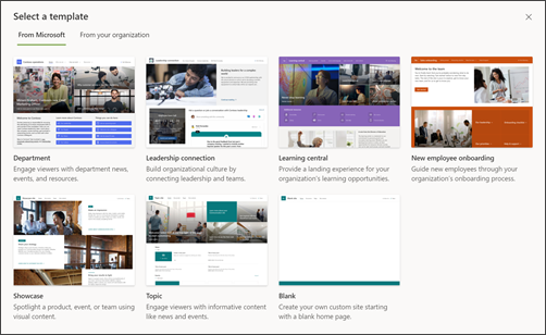 Image of the SharePoint site template picker
