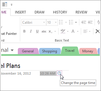 You can change the page creation time in OneNote.
