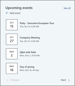 Image of the events web part on the leadership site template