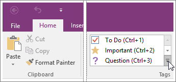 Screenshot of the list of tags in OneNote 2016.