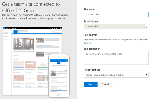 New SharePoint Team Site