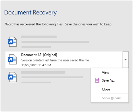An original document last saved by the user listed in the Document Recovery pane