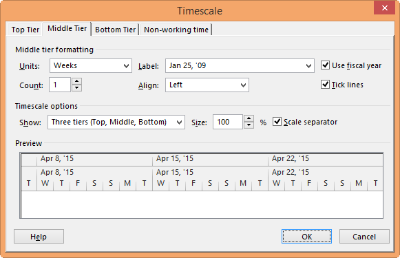 Change The Timescale In A Project View Project