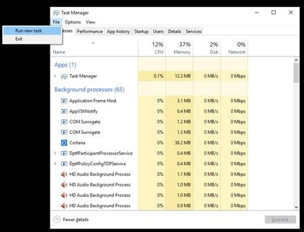 Run a new task in Task Manager