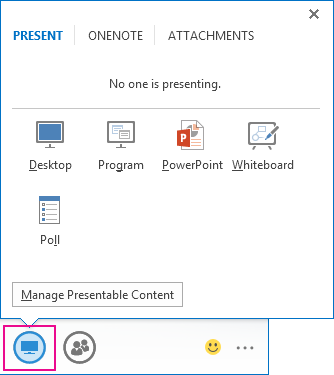 Screenshot of presentation icon and options to share desktop or program