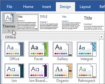 Office 365 Word Themes