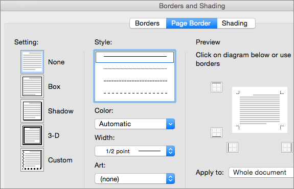 Select the style, color, and width for the page border