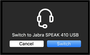 Switch to a connected audio device