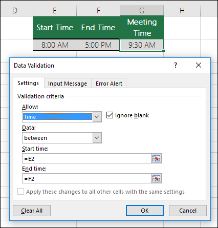 Validation settings to restrict time entry within a time frame