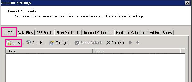 Screen shot of the Email tab in the Account Settings dialog box.