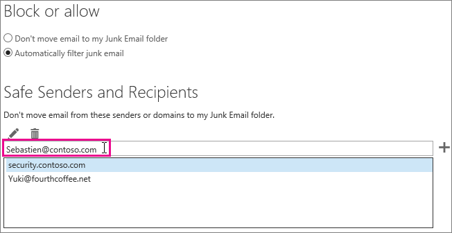 Adding a safe sender in Outlook Web App