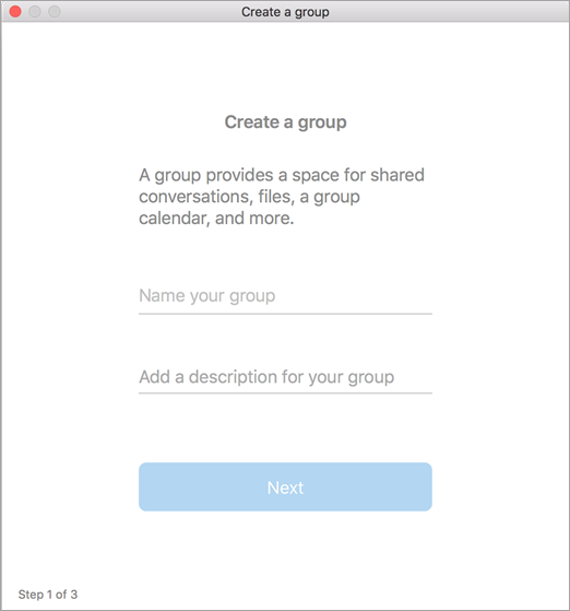 Showing create a group ui in Mac
