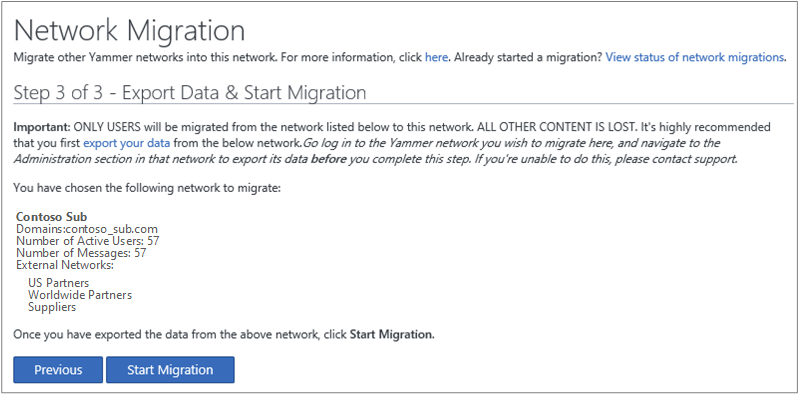 Screen shot of Step 3 of 3 - Export Data & Start Migration